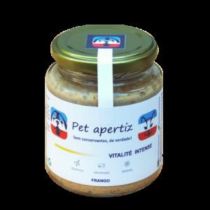pote de vidro com alimento natural pronto para cães e gatos em terapia com carne de frango