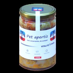 pote de vidro com alimento natural pronto para cães em terapia com carne bovina